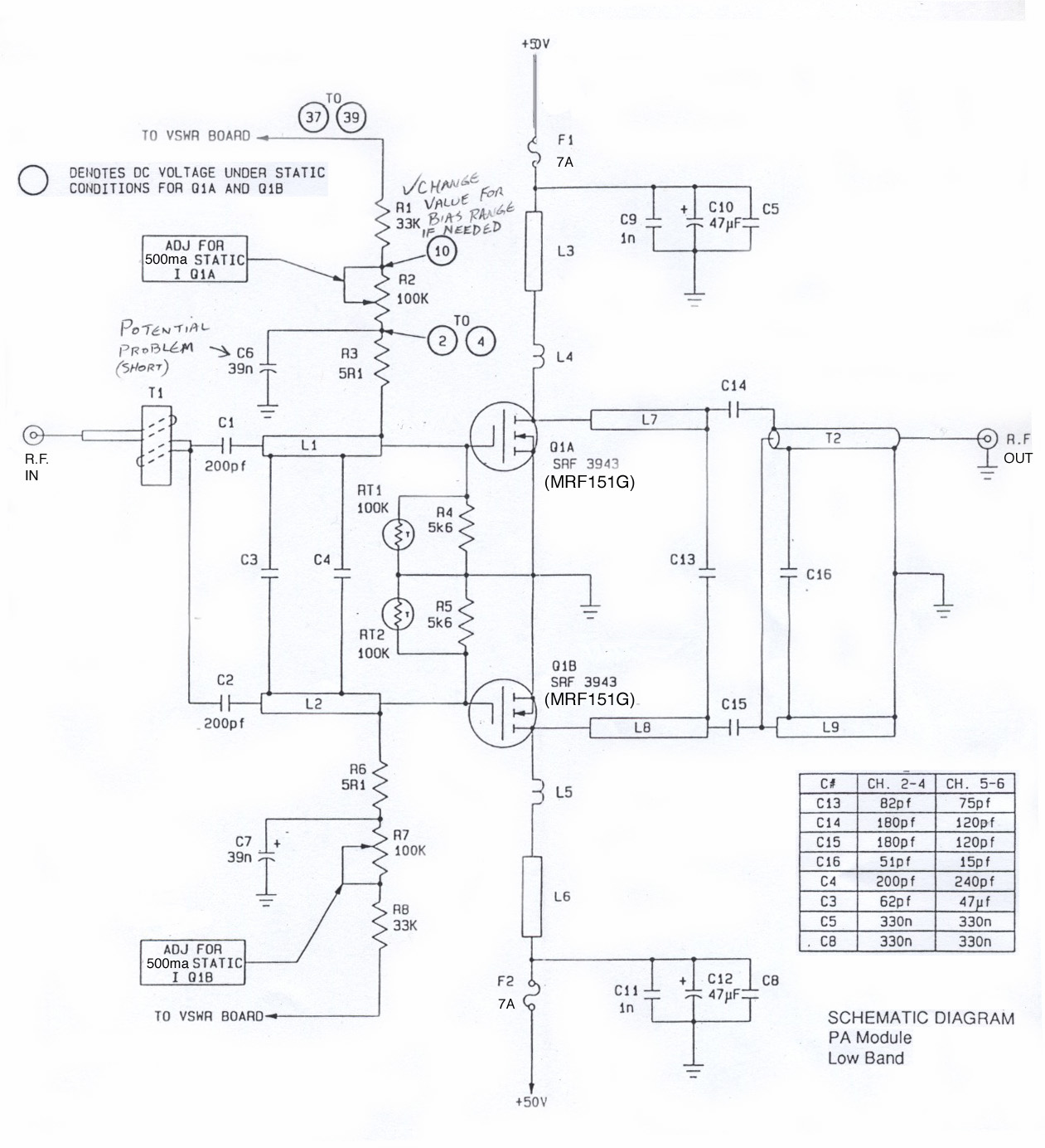 Fet Kilowatt Amp Is Set To The Value Indicated In Schematic Then Amplifier This Diagram Of One Active Device Section Not Shown Are All Passive Stripline Splitters And Combiners That